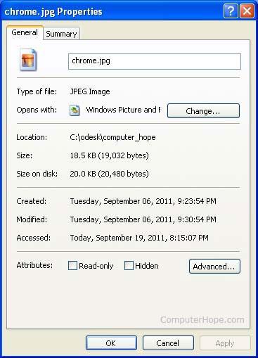Microsoft Windows中带有位置路径的文件属性